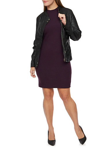 Plus Size Faux Leather Jacket with Moto Shoulders,BLACK,large