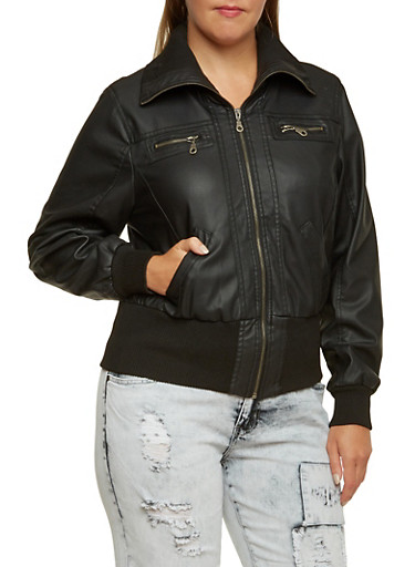 Plus Size Bomber Jacket in Faux Leather,BLACK,large