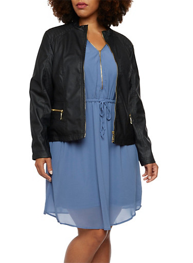 Plus Size Jacket in Faux Leather,BLACK,large