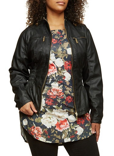 Plus Size Faux Leather Jacket with Smocked Sides,BLACK,large