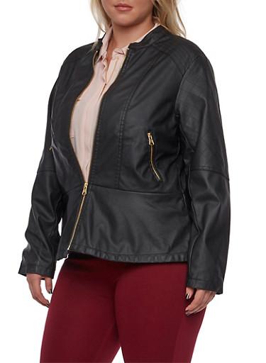 Plus Size Faux Leather Peplum Jacket,BLACK,large