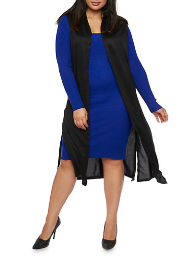Plus Size Sleeveless Knit Duster,BLACK,large