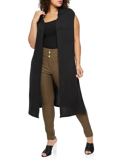 Plus Size Sleeveless Hooded Duster,BLACK,large