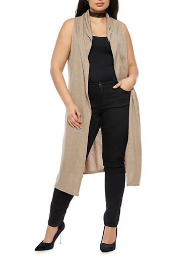 Plus Size Sleeveless Hooded Duster,TAUPE,large