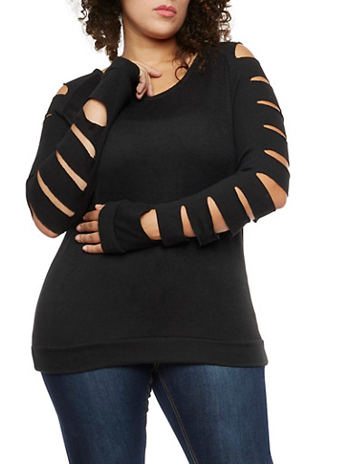 Plus Size Slashed Long Sleeve Top,BLACK,large
