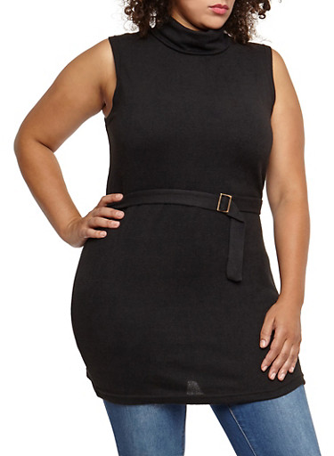 Plus Size Sleeveless Belted Turtleneck Tunic Top,BLACK,large