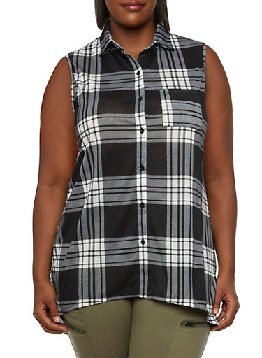 Plus Size Plaid Shirt with High-Low Hem,BLACK,large