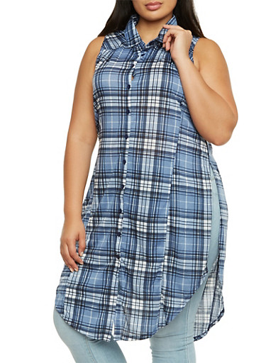 Plus Size Plaid Tunic Top with Round Hem,BLUE,large