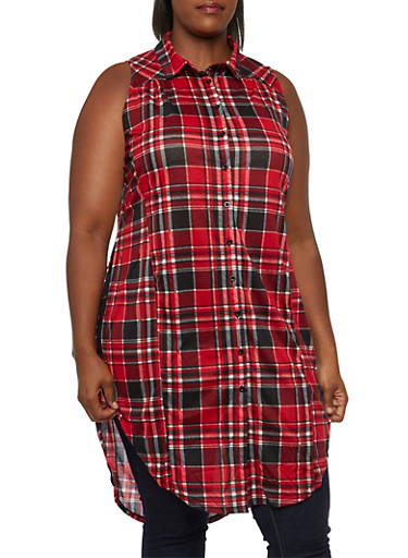 Plus Size Plaid Tunic Top with Split Sides,RED-BLACK,large