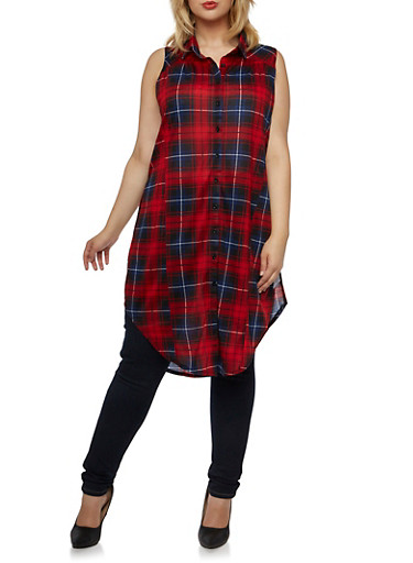 Plus Size Sleeveless Split Sides Tunic with Plaid Print,RED-NAVY,large
