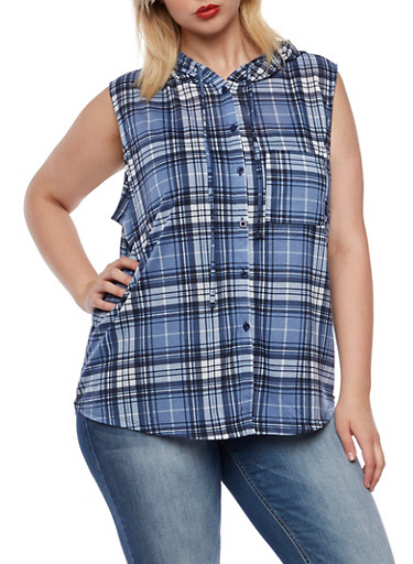 Plus Size Sleeveless Plaid Hooded Top,BLUE-NAVY,large