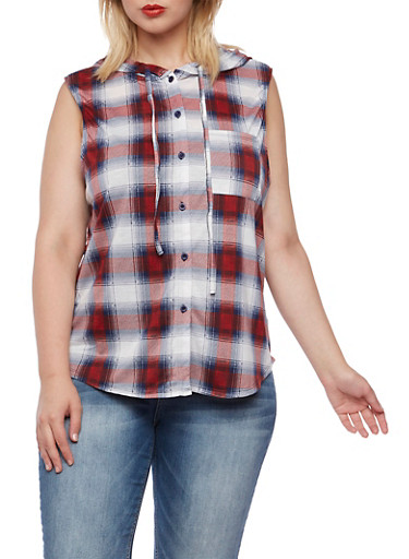Plus Size Sleeveless Plaid Top with Attached Hood,RED-WHITE-BLUE,large