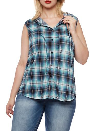 Plus Size Plaid Hooded Sleeveless Top,JADE-BLACK,large