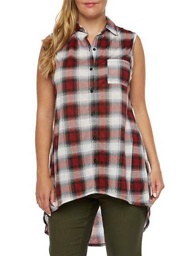 Plus Size Sleeveless Plaid Tunic Top,RED-WHITE-BLK,large