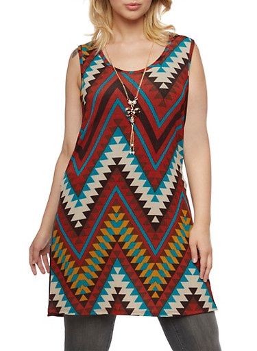 Plus Size Printed Tunic Tank Top with Necklace,RUST,large