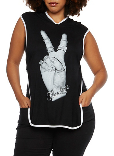 Plus Size Hooded Tank Top with Flawless Graphic,BLACK,large