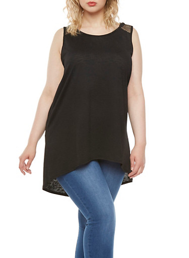 Plus Size Textural Hooded Tunic Top with Mesh Yoke,BLACK,large