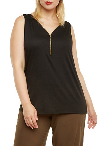 Plus Size Jersey Tank Top with Zip V-Neck,BLACK,large
