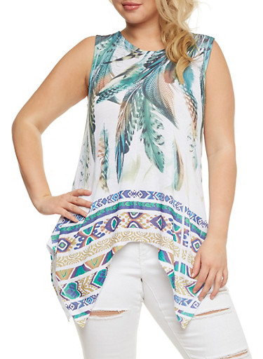 Plus Size Feather Print Asymmetrical Sleeveless Top,IVORY-GRN,large
