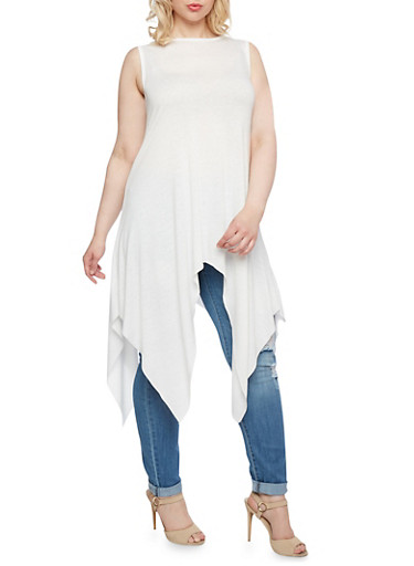 Plus Size Tunic Top with Asymmetrical Hem,IVORY,large