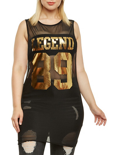 Plus Size Legend Mesh Tunic Top,BLACK,large