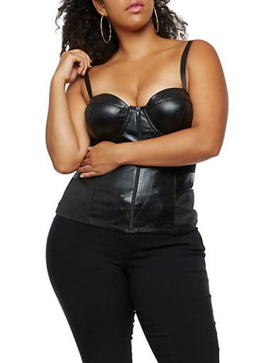 Plus Size Perforated Faux Leather Bustier,BLACK,large