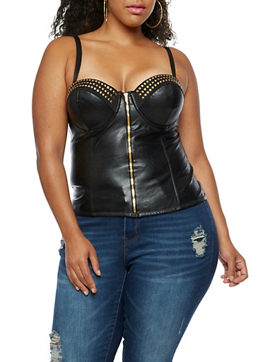 Plus Size Stud Trim Faux Leather Bustier,BLACK,large