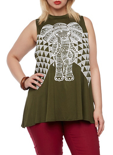 Plus Size Top with Tribal Elephant Graphic,OLIVE,large