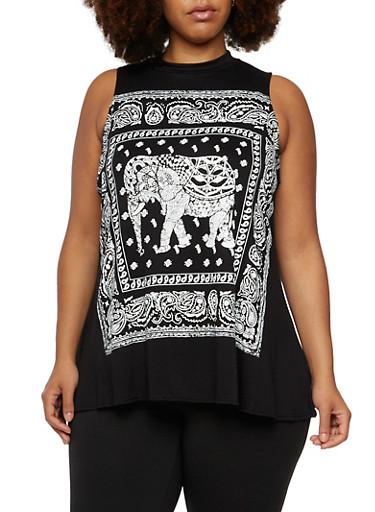 Plus Size Swing Top with Bandana Elephant Print,BLACK,large