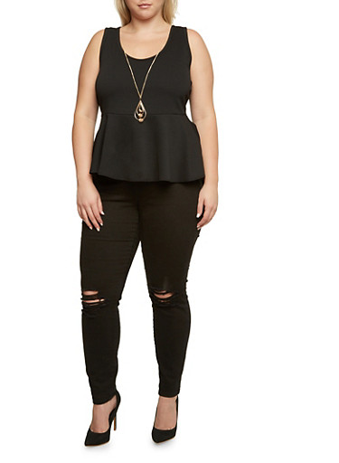 Plus Size Sleeveless Peplum Top with Removable Necklace,BLACK,large