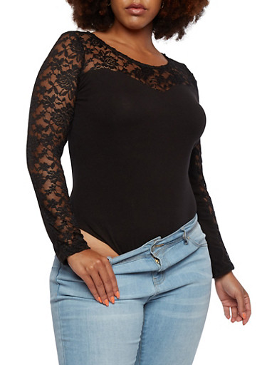 Plus Size Bodysuit with Crochet Paneling,BLACK,large
