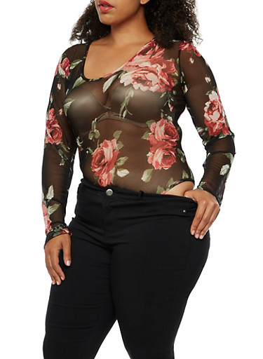 Plus Size Floral Mesh Bodysuit at Rainbow Shops in Daytona Beach, FL | Tuggl