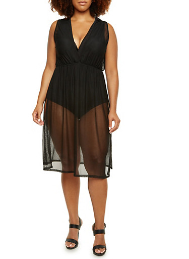 Plus Size Sleeveless Mesh Duster Top with Bodysuit,BLACK,large
