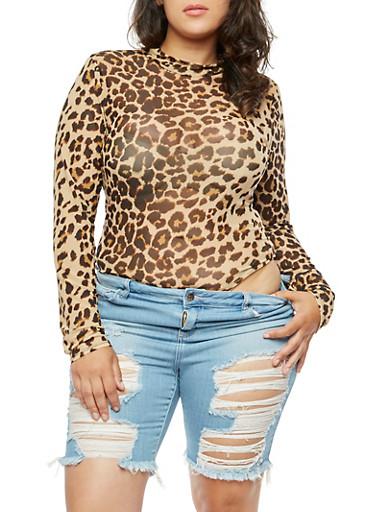 Plus Size Leopard Bodysuit,TAN,large