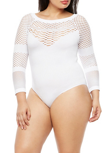 Plus Size Perforated Bodysuit at Rainbow Shops in Daytona Beach, FL | Tuggl