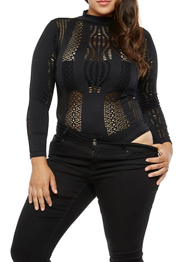 Plus Size Long Sleeve High Neck Perforated Bodysuit,BLACK,large