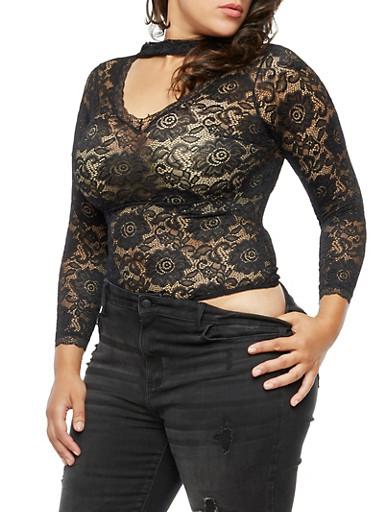 Plus Size Lace Bodysuit,BLACK,large