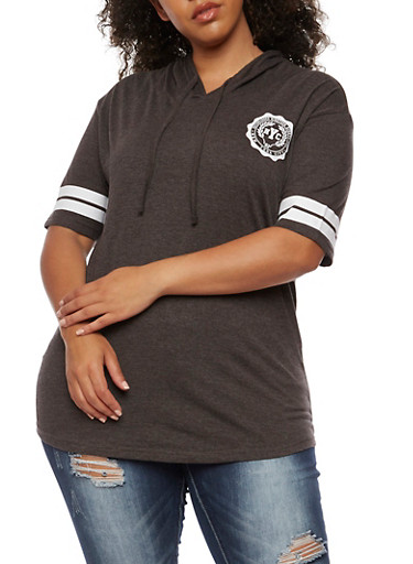 Plus Size Hooded NYC 82 Graphic Top,CHARCOAL,large