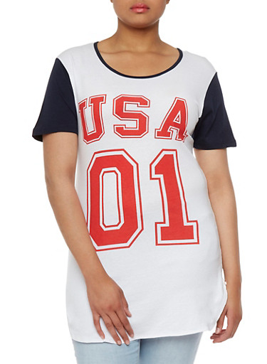 Plus Size Raglan Short Sleeve Top with USA 01 Print,RED/WHT/BLUE,large