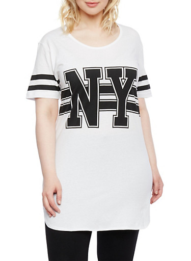 Plus Size Varsity Tunic Top,BLACK/WHITE,large