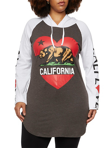 Plus Size Hooded Tunic Top with California Love Graphic,CHARCOAL,large