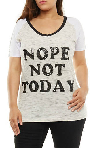 Plus Size Nope Not Today Sequined Graphic Top,OATMEAL,large