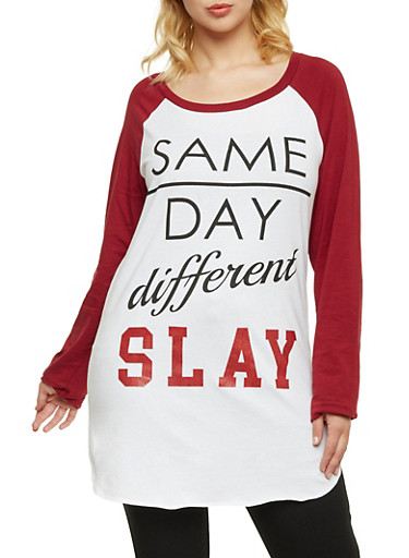 Plus Size Raglan Top with Same Day Different Slay Print,WHITE- WINE,large
