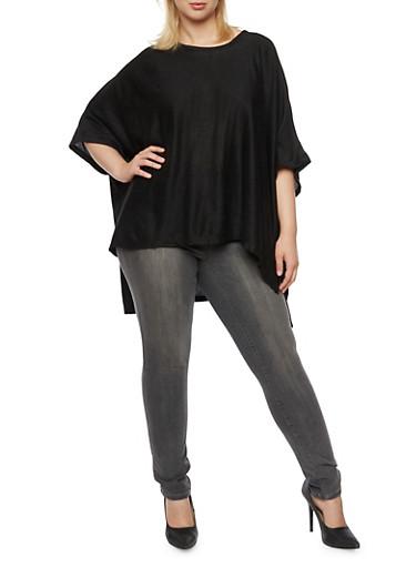 Plus Size Knit Poncho Top,BLACK,large