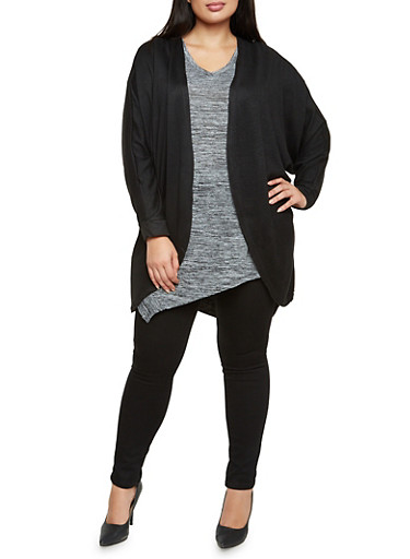 Plus Size Open Cardigan with Batwing Sleeves,\,large