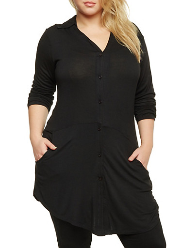 Plus Size Button Tunic Top in Stretch Knit,BLACK,large