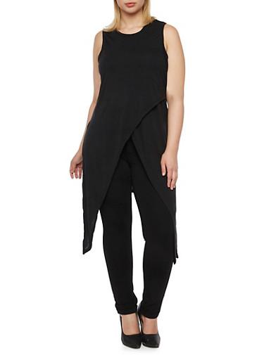 Plus Size Sleeveless Tunic Top with Tulip Paneling,BLACK,large
