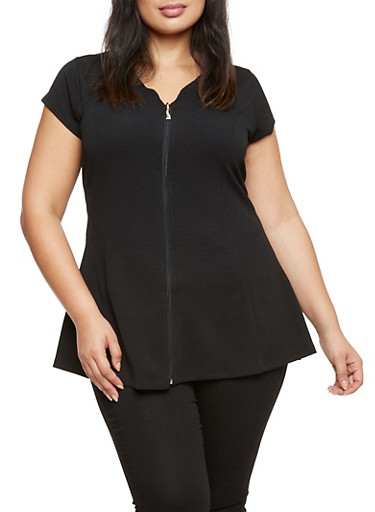 Plus Size Textured Top with Zip Front,BLACK,large