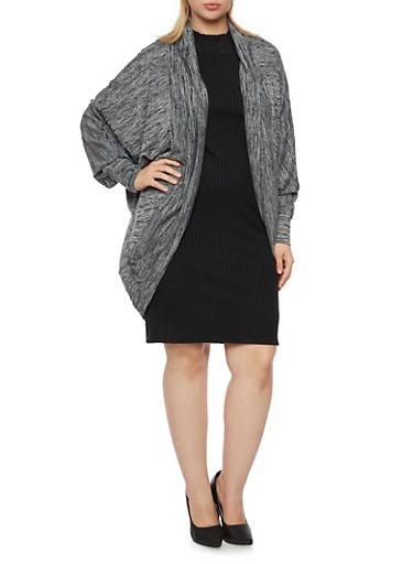 Plus Size Marled Cardigan with Batwing Sleeves,BLACK,large