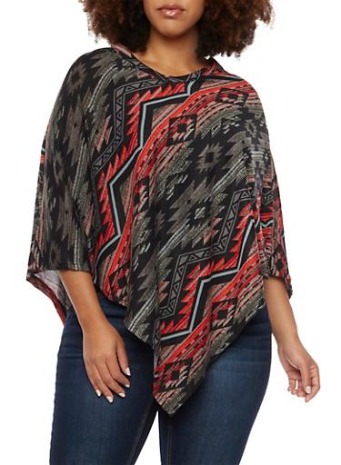 Plus Size Aztec Print Knit Poncho,BLACK,large